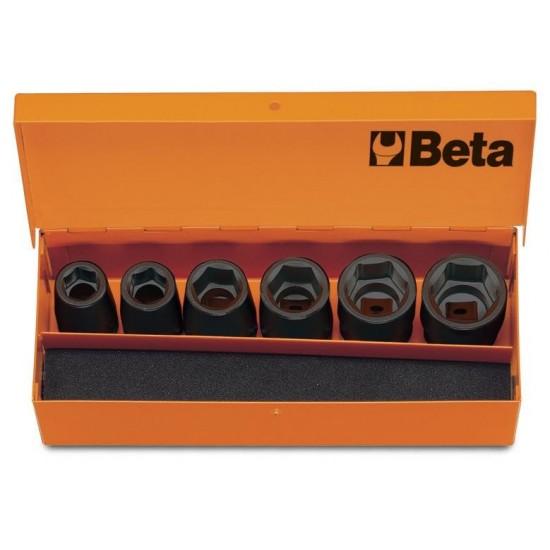 6 κρουστικά καρυδάκια μικρά οδηγός 1/2  θηλυκός σε μεταλλική κασετίνα BETA 007200907